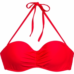 Protest Protest Womens MM Leslie Bandeau Bikini Top Flame Red