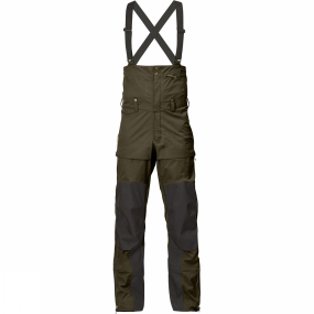 Fjallraven Technical wind and waterproof three-layer bib trousers with braces for ski touring and trekking in cold conditions. The Men