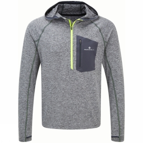 Ronhill Ronhill Mens Advance Victory Hoodie Grey Marl/Fluo Yellow