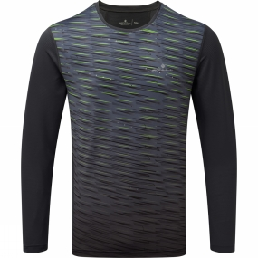 Ronhill Ronhill Mens Stride Long Sleeve Tee Charcoal/Fluo Yellow