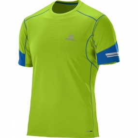 Salomon Salomon Mens Agile Short Sleeve Tee Granny Green / Union Blue