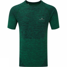 Ronhill Ronhill Mens Infinity Spacedye Short Sleeve Tee Forest/Black Marl