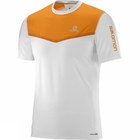 Salomon Salomon Mens Fast Wing Short Sleeve Tee White/Bright Marigold