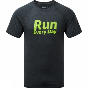 Ronhill Ronhill Mens Stride Graphic Short Sleeve Tee Charcoal/Fluo Yellow
