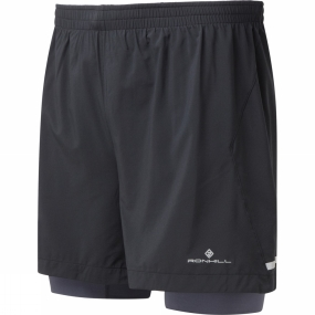 Ronhill Ronhill Mens Stride Twin 5' Short Black/Charcoal/Fluo Yellow