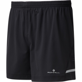 Ronhill Ronhill Mens Stride 5in Shorts Black/Charcoal/Fluo Yellow