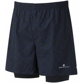 Ronhill Ronhill Mens Momentum Twin 5in Shorts Hex Print - Cobalt