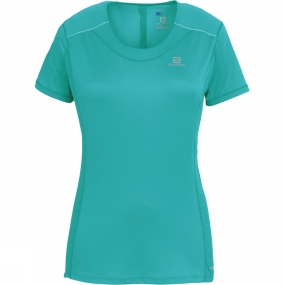 Salomon Salomon Womens Agile Short Sleeve Tee Teal Blue F
