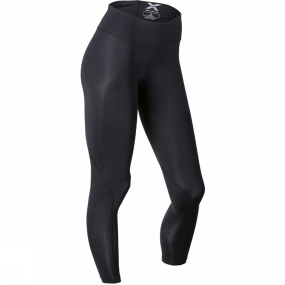 2XU 2XU Womens Mid-Rise Compression Tight Black/Dotted Black Logo
