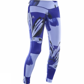 Salomon Salomon Womens Elevate Long Tights Spectrum Blue/ Black/ Baja Blue