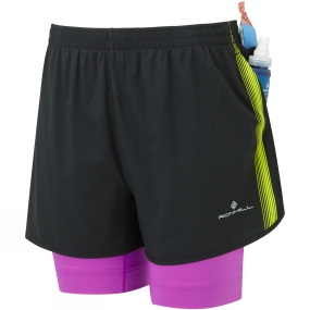 Ronhill Ronhill Womens Infinity Fuel Twin Shorts Black/Thistle
