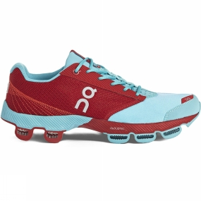 On On Womens Cloudster Shoe Blue/Red