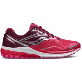 Saucony Saucony Womens Ride 9 Shoe Bright Red/Pink