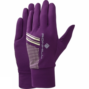 Ronhill Ronhill Beanie and Glove Set Grape Juice/Fluo Yellow