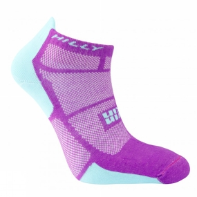 Hilly Womens Twin Skin Socklet Purple / Aquamarine