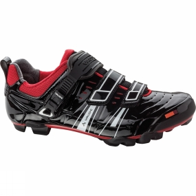 Vaude The Exire Pro RC Cycling Shoe from VauDe is trimmed for maximum power transfer. The top of the three closure straps has a side adjustment and ratchet closure mechanism so it can be optimally adapted to the shape of the foot, ensuring a perfect fit. The heel cup is made from special gripper material guaranteeing outstanding hold, and the stiff Race NT sole allows you to transfer power to the pedals efficiently. Further features: the smooth material is impervious to dirt, a TPU toe cap serves to absorb shocks, and ventilation slits in the front help air circulate for improved foot climate. The race shoe is compatible with all current MTB clipless pedal systems.