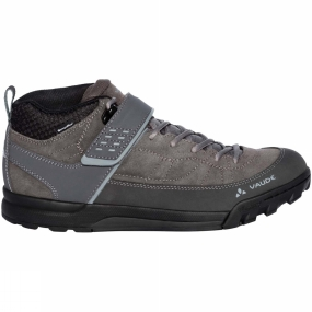 Vaude Waterproof flat pedal shoe with a profile. This mid high bike shoe made from top quality leather ensures balanced performance with a custom designed Vibram sole. On the flat pedal, the sole provides solid support in the mid region and effective power transfer to the pedal. The front and back sections of the sole have an aggressive profile that offers better foot roll performance and walking comfort while carrying. The waterproof mountain bike shoe made from eco-friendly Sympatex membrane protects the ankle with a higher cut, and comes with laces and a hook and loop closure. The Terracare suede leather comes from German production and was ecologically manufactured. The laces are made from recycled PET and certified in accordance with the stringent bluesign standard. The lining and the insole consist of 50% recycled materials. Abrasion resistance and shock protection make sure you can enjoy them for a long time. The Green Shape label is Vaude
