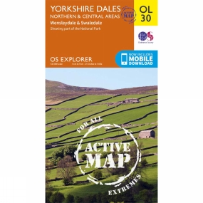 Ordnance Survey Active Explorer Map OL30 Yorkshire Dales - North and Central Area