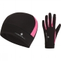 Product image of Ronhill Vizion Beanie And Glove Set Black/Fluo Pink