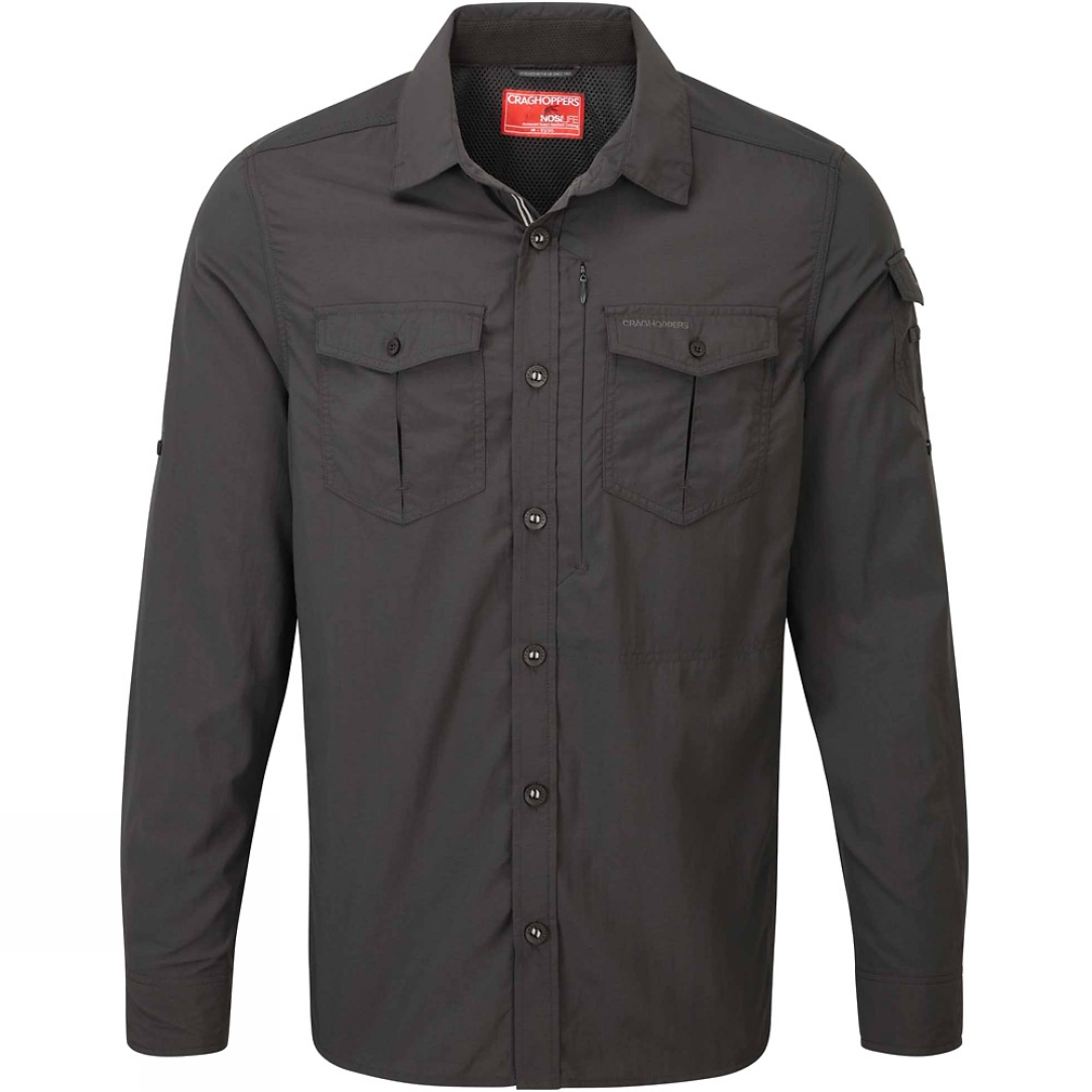 Craghoppers mens nosilife adventure long sleeved shirt for Mens outdoor long sleeve shirts