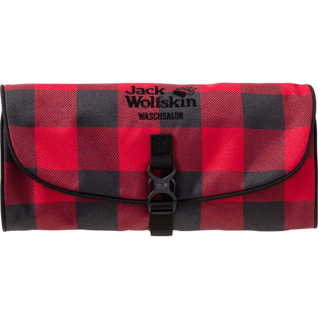 jack wolfskin waschsalon wash bag red lumber check bear. Black Bedroom Furniture Sets. Home Design Ideas